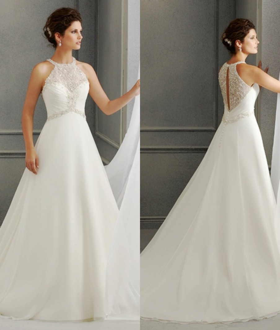halter wedding dresses a line court train organza hollow bridal gowns