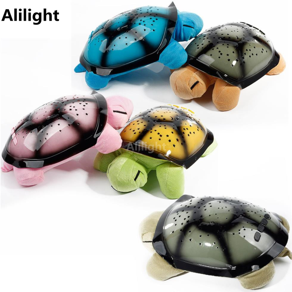 Musical Turtle Led Night Light Sky Star Novelty Night Lamp Children Toy Lamp Baby Sleep Light Pink Yellow Green Blue Fixtures(China (Mainland))