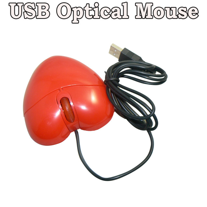Cheaper Price Red Heart Mouse USB Optical Wired Mouse 800/1200 DPI For Computer Notebook(China (Mainland))