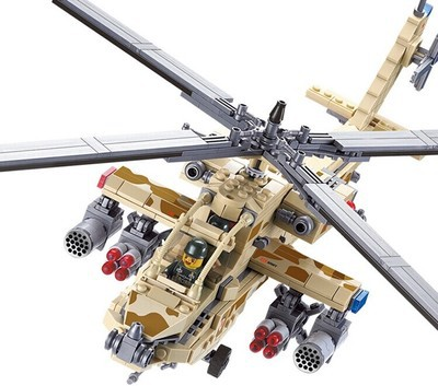AH-64 Apache Military Armed Aircraft Helicopter model enlighten building blocks kids toys;Lego Compatible - Happy Toys MALL store