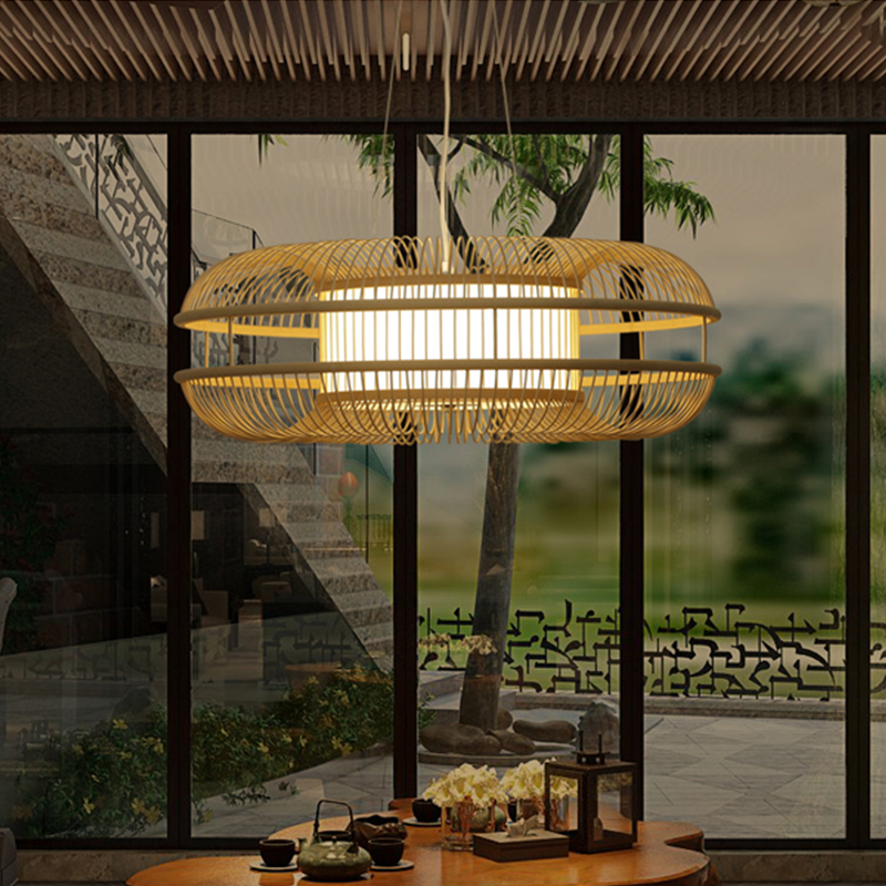 chinese retro pendant light lamp led lighting fixtures wood bamboo for dining room hotel home led hanging lamp e27 ac110v 220v bamboo lighting fixtures