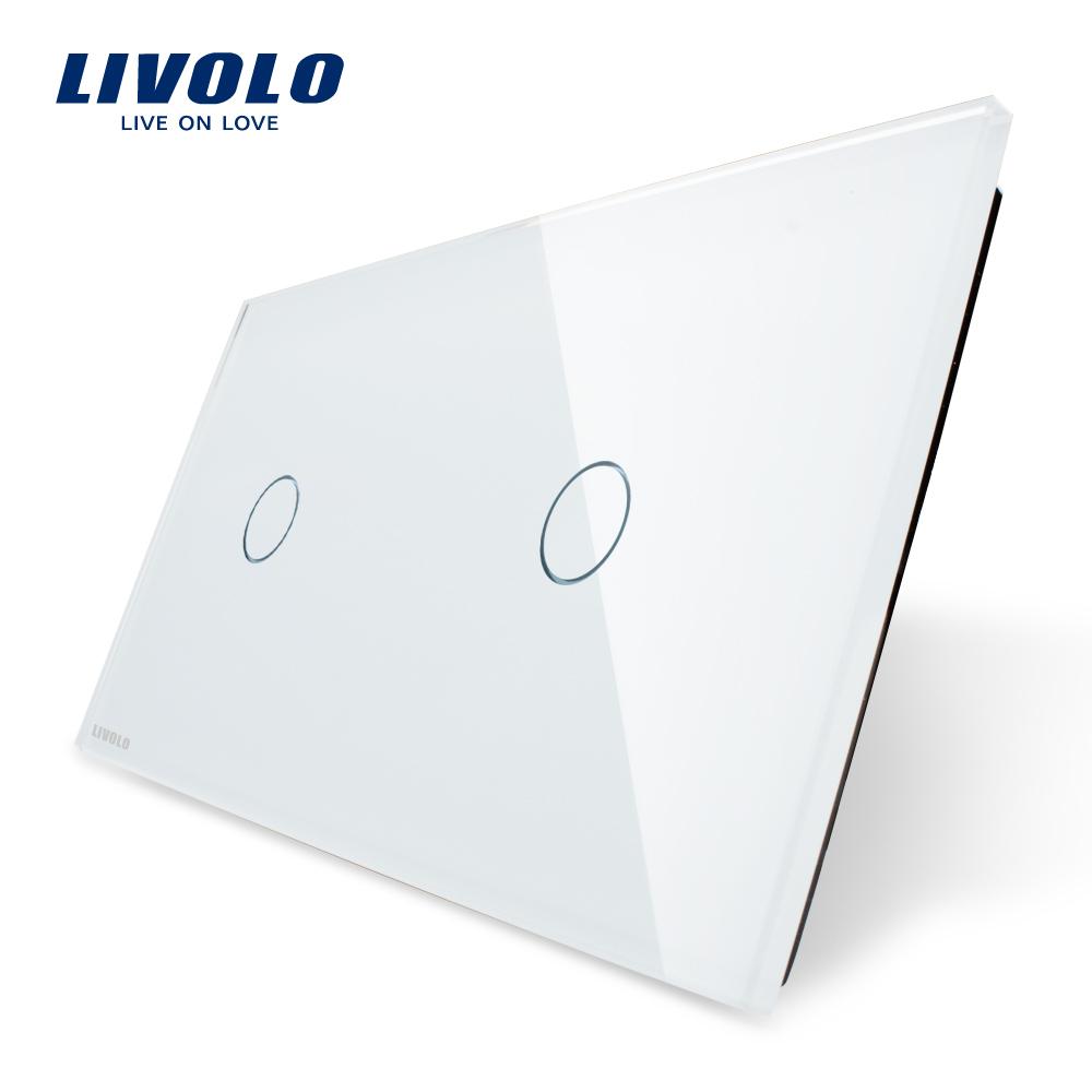 Гаджет  Free Shipping, Livolo Luxury White Pearl Crystal Glass, 151mm*80mm, EU standard, Double Glass Panel,VL-C701-11/VL-C701-11 None Электротехническое оборудование и материалы