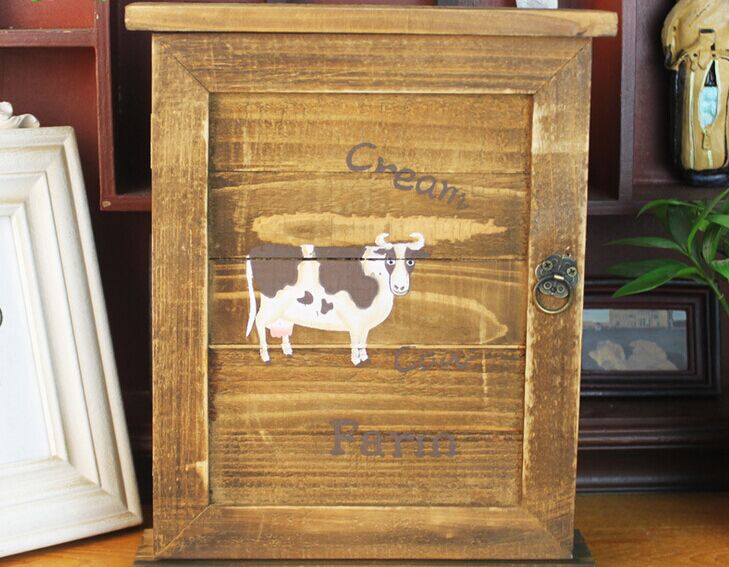 American Pastoral nostalgia style wood grilled old key box cream cows Wall Decoration storage box(China (Mainland))
