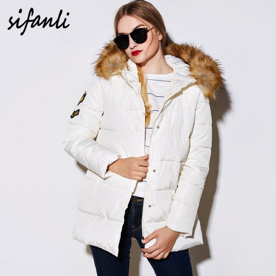 SIFANLI 2016 Winter Parka Women Coat Nagymaros Collar Patch Letter Medium-Long Wadded Jackets Thick Hooded Cotton-Padded Jacket(China (Mainland))
