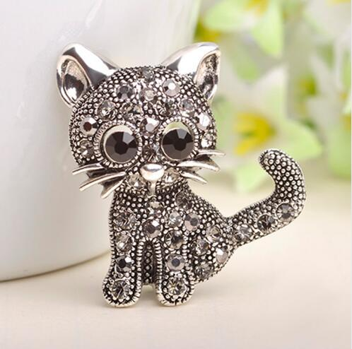 2016 New Cute Little Cat Brooches Pin Up Jewelry For Women Suit Hats Clips Antique Silver Corsages Brand Bijoux Bijouterie(China (Mainland))