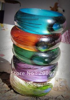 BB-236 India hand painted Peacock bangle,5pcs lot,Gossip girl fashion,multi-colors mix order