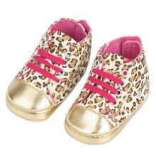 2015 Hot Lovely Unisex Baby Infant Toddler Shoes Leopard PU Gold Crib Shoes Walking Sneaker Size 11-13 #71374(China (Mainland))