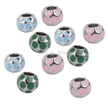 SPMART Alloy Round Spacer Beads Jewelry DIY Making Pendants Charms 10Pcs Mix Color Free Shipping(China (Mainland))