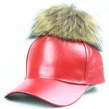 fashion PU leather baseball cap wool real mink pom poms hip hop hat caps bone snapback winter hats for women wholesale(China (Mainland))