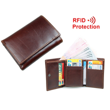 Buy New Style RFID BLOCKING Men Wallet Vintage Genuine Cow Leather Trifold Purse Card Holder RFID Protection Wallets Men for $14.69 in AliExpress store