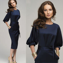 New Women Summer Casual Office Lady Party  Cocktail Midi Dress Size 6-18(China (Mainland))