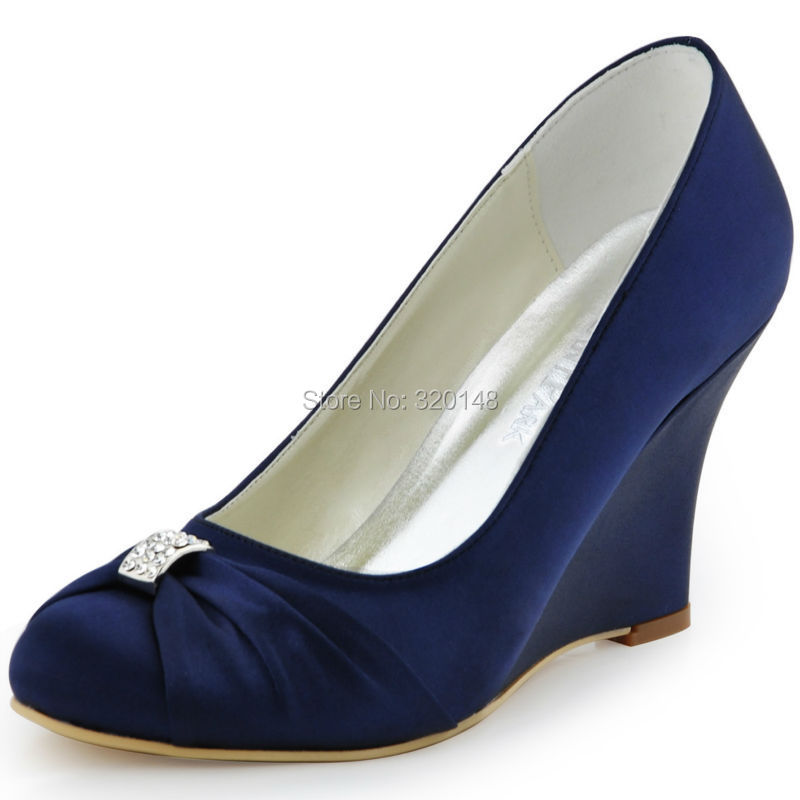 ep2005 elegantpark wedges navy blue satin high heel