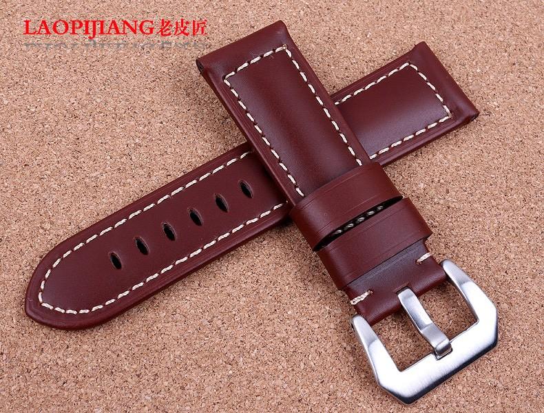 Laopijiang Кожаный ремешок мужчины часы модные аксессуары 24 мм Fit PAM111