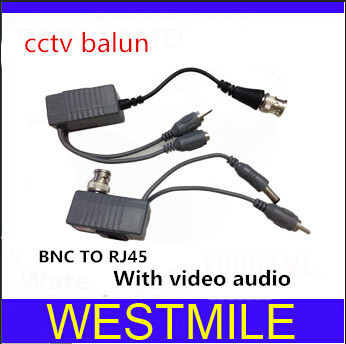 CCTV Power Balun BNC TO RJ45 Cat5 Transceiver with Video Audio for cctv system Free shipping(China (Mainland))