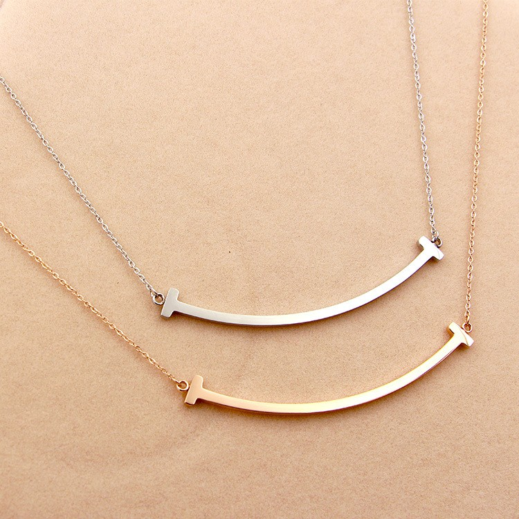 316L-Stainless-Steel-Smiling-Face-T-Letter-Shape-Pendant-Necklace-Chain-Necklace-For-Women-Present-Never