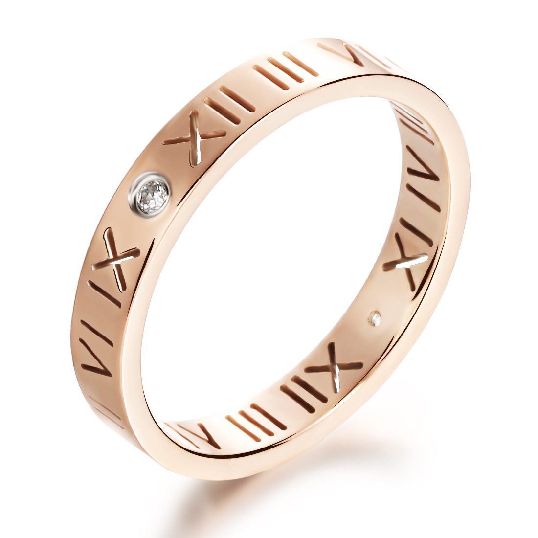 Summer Style Rose Gold Lucky Roman Letter Rings For Women Men Fashion Imitation Diamond Rings