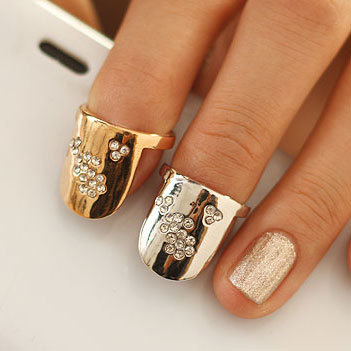 Punk Cool Jeweled Nails Ring Small Fail Nail Rings Sets Jewellery Art Finger - Lincy Fashion store