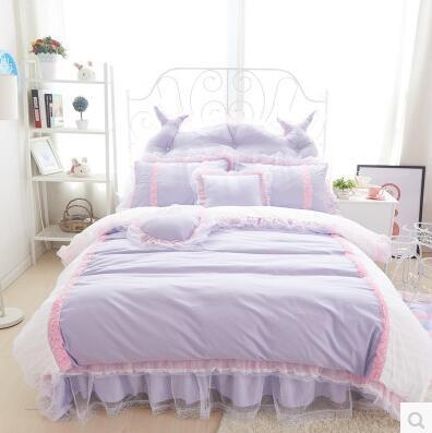Korean style bedding set princess cute purple lace bed linen blue purple duvet cover sheet queen king size 4pcs 100%cotton(China (Mainland))