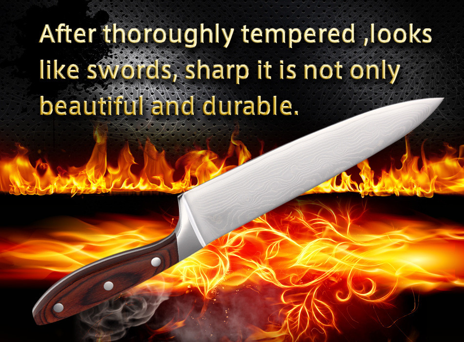 Buy 2016 Brand Damascus Knife 8 inch Chef Knife With Wooden Handle Japanese AUS-10 Damascus Stainless Steel Kitchen Meat Knives cheap