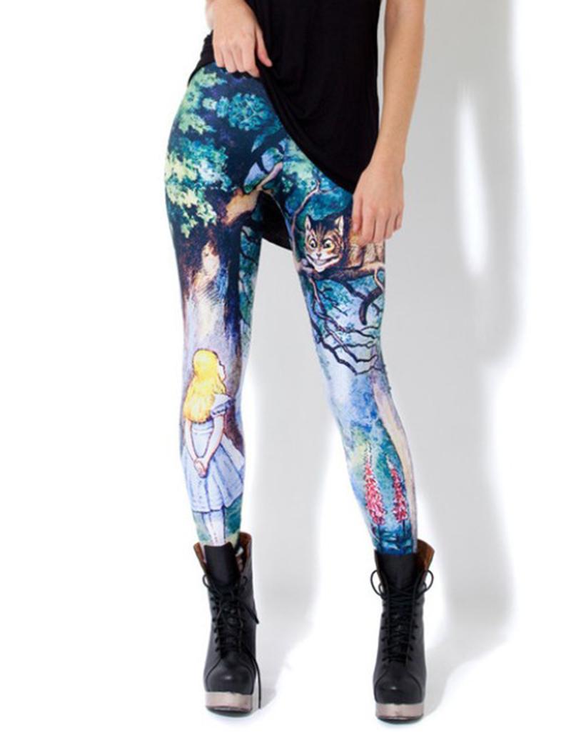 MsLeg Alice in Wonderland Pants Gifts Leggings Womens Sexy Cheshire Cat Printed Leggings(China (Mainland))