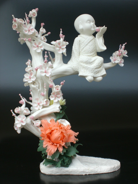 Porcelain flower, tree and person art design(China (Mainland))
