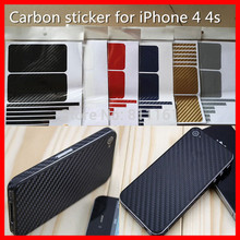 Full Body Carbon Fiber Sticker Skin for IPhone 4 4S 4G Stickers for Mobile Phone Accessories +LOGO Free Shipping Blue 10pcs/lot(China (Mainland))