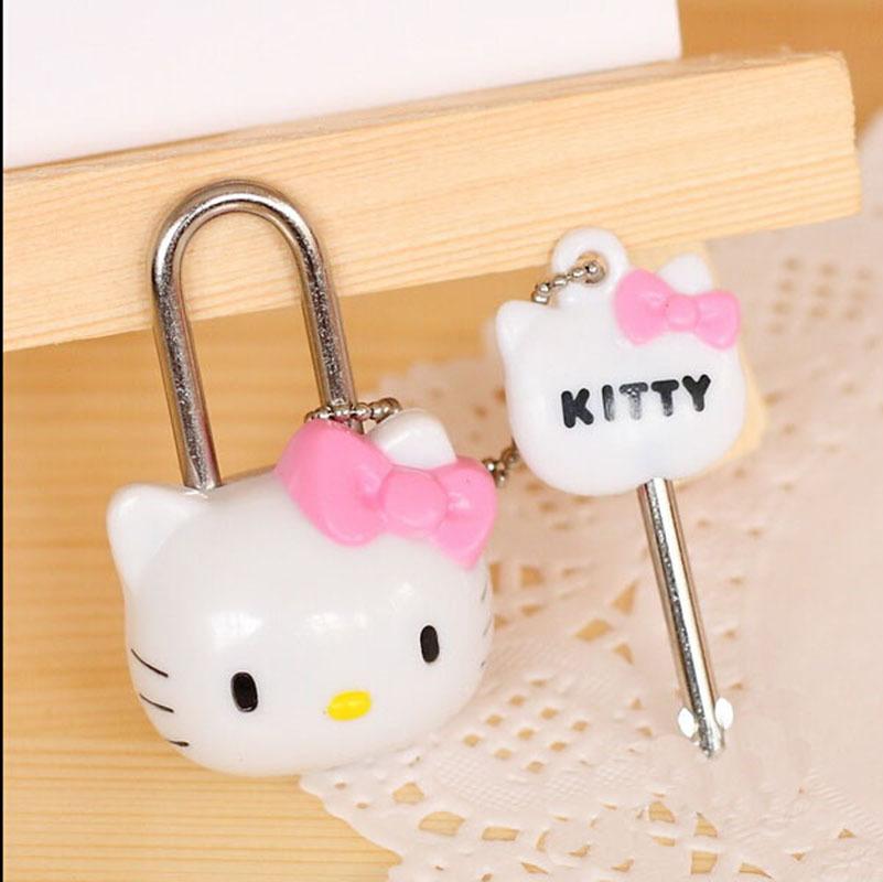 Mini Cute Plastic Hello Kitty 3D Locks Cartoon Toy Pad Safety Travel Bag Security Lock Key for Bag Diary Lockers lovely gift(China (Mainland))
