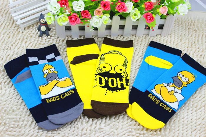 Free shipping male half Simpsons family invisible socks Cotton Graffiti Styles Socks harajuku sox summer style