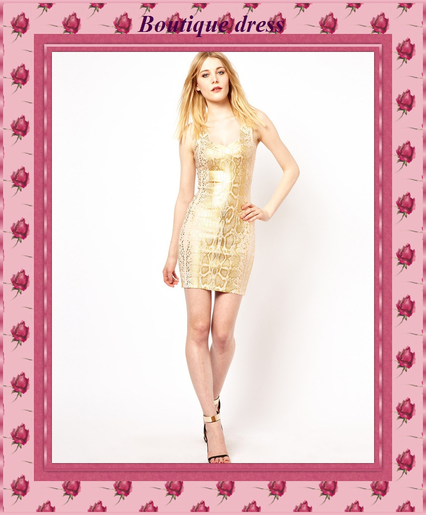 New Fashion 2014 Outlet Gold Bandage Dress Backless Sexy Night Club Wear Ladies Elastic Short Cocktail Party Dress H502(China (Mainland))