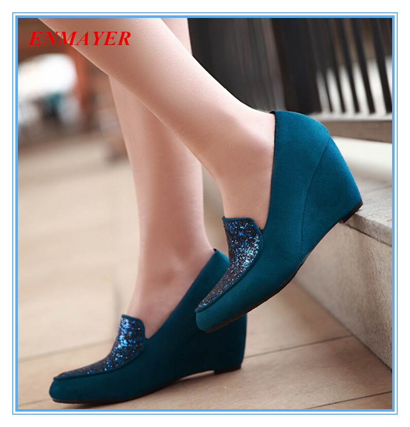 ENMAYER  fashion Wedges Pointed Toe  Basic  pumps scrub and nice Glitter date shoes for ladies slip-on Closed Toe  women pumps <br><br>Aliexpress