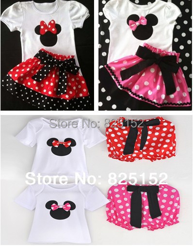 2015 Summer New Children Girl's 2PC Sets Skirt Suit Minnie Mouse baby Clothing sets dots t shirt + pants or dress girls clothes(China (Mainland))