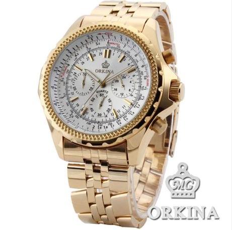 2016 New Reloj Watches Hardlex Man Watch Orkina Golden Waterproof Fashion Strap Men Brand Quartz 3 Colors Auto Date(China (Mainland))