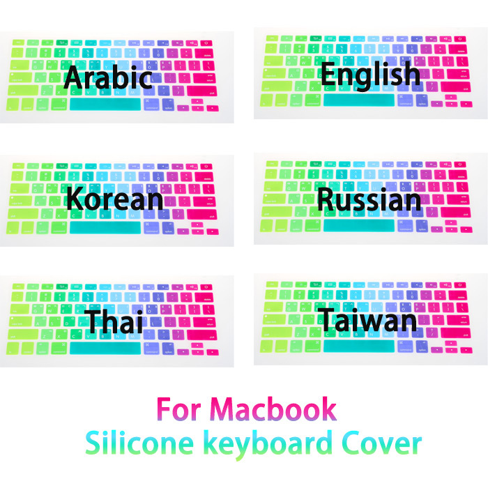 New Fashion Colorful Rainbow Silicone keyboard cover Protector Skin film for MacBook Laptop Mac Air 13 Pro 17 13 15 retina(China (Mainland))