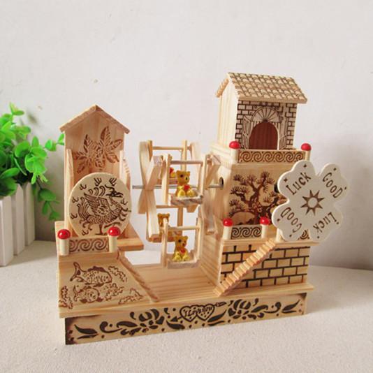 Decorating Ideas > Fashion House Floor Wooden Windmill Music Box Garden  ~ 150254_House Decoration Gift Ideas