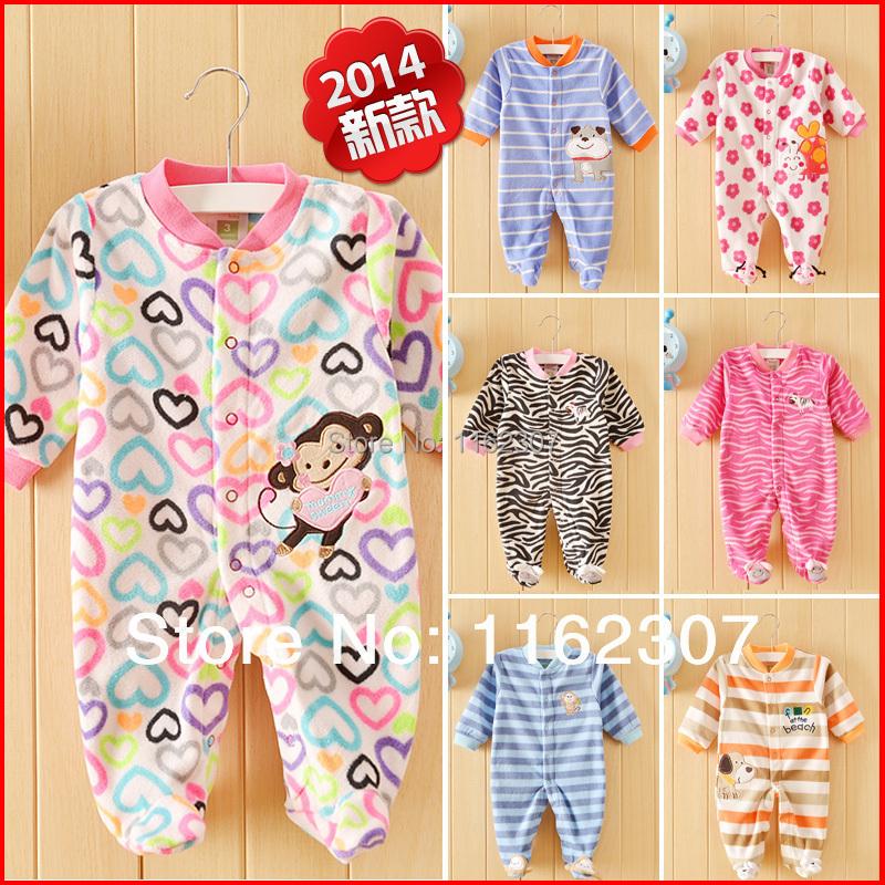 Free shipping top quality antumn & winter baby bodysuits fleece children jumpsuit pajams long sleeve kids pajamas baby clothing(China (Mainland))