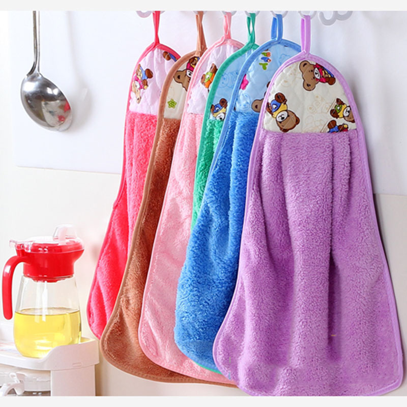 1pcs Quick-Dry Nano Coral Velvet Hanging Hand Towel Kitchen Washing Strong Absorption Microfiber Baby Drying Towels W22169L5(China (Mainland))