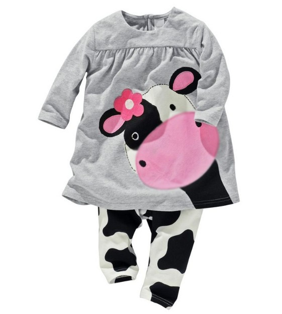 1 set retail!Newborn baby girls clothes 100% cotton casual long-sleeved T-shirt+Pants suit Baby cartoon Tracksuit sets - Panda store