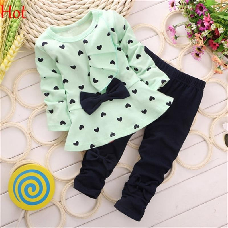 Baby Girls Outfits Long Sleeve Heart Dots Bow Princess Sweatshirt Autum Legging Pant Sets Cotton Outfits Kid Green Pink SV011184(China (Mainland))