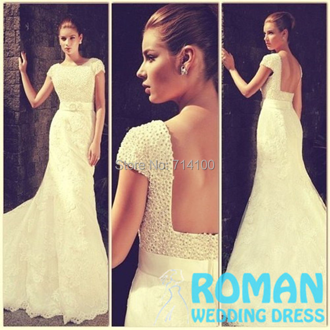 Lovely Ivory Trumpet Lace Top Jewel Neck Short Sleeves Crystals Beaded Sweep Train Backless Prom Dresses 2015 Roman Wedding - Sheepherder Store store