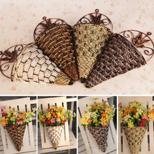 Rattan Wall Hanging Wall Mounted Vase For Artificial Flowers Plants Table Wedding Party Home Garden Decoration Gift Craft 1111(China (Mainland))