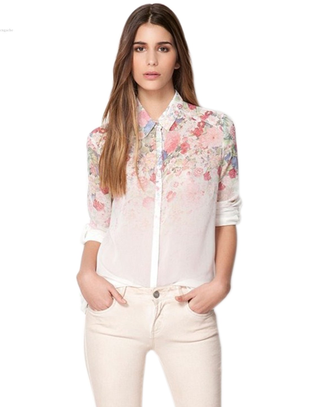 Hottset women floral chiffon blouse ladies long sleeve for Ladies shirts and tops blouses