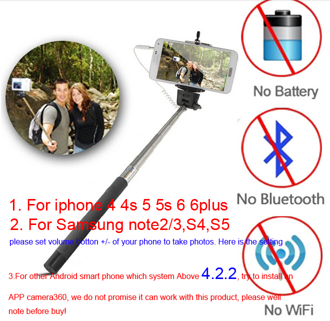 Extendable Handheld Selfie Monopod Audio Cable Wired Selfie Stick for iPhone 6 6Plus 5s 5 IOS Samsung Android Smart Phone(China (Mainland))