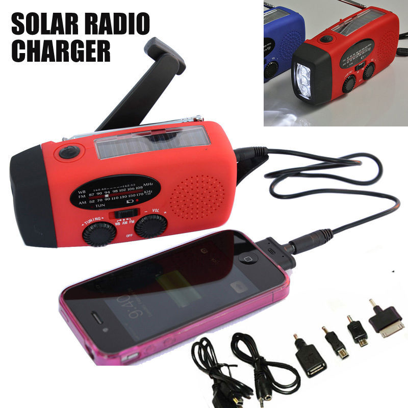 New Solar Dynamo Powered Radio Hand Crank AM/FM 3 LED Flashlight Phone Charger power cords for cell phones Free Shipping C05(China (Mainland))