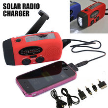 Solar Dynamo Powered Radio Hand Crank AM/FM 3 LED Flashlight Phone Charger power cords for cell phones Free Shipping New