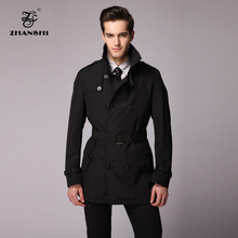 ZHANSHI 2015 New Collection High Quality Fashion Men Black Trench Coat With Belt Free Shipping(China (Mainland))
