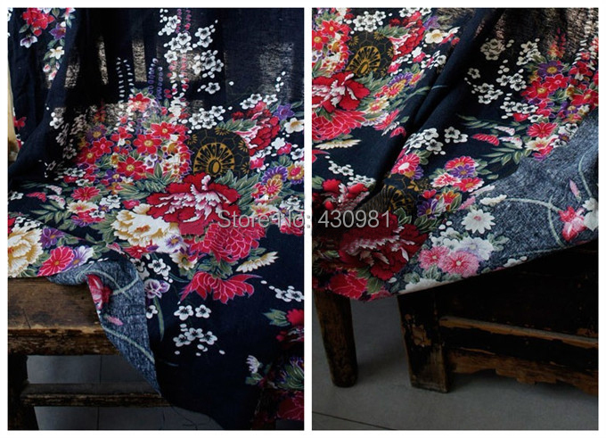 acheter grande fleur impression tissu cosplay kimono la main mat riel. Black Bedroom Furniture Sets. Home Design Ideas