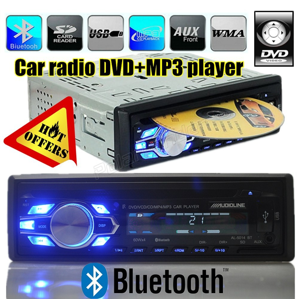Bluetooth CD DVD car radio player USB SD aux IN 1 din car audio stereo 1 Din Car DVD Player MP3 Radio Stereo Bluetooth Subwoofer(China (Mainland))