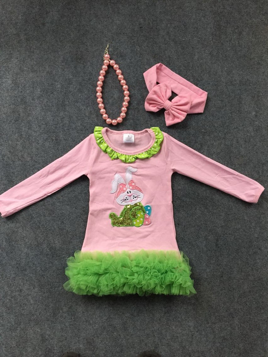baby girls Easter bunny dress pink dress girls long sleeve dress kids party dress with matching headband and chunky necklace set<br><br>Aliexpress