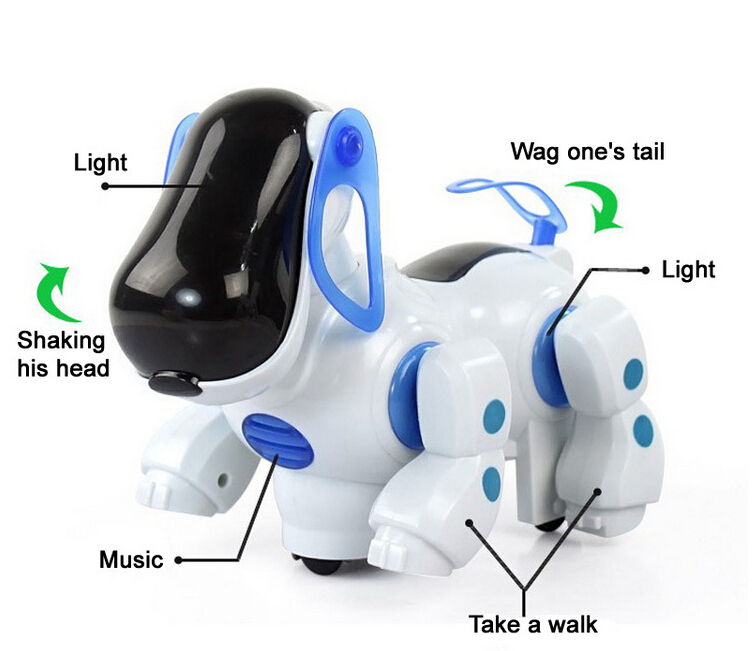 Cheap Electric Dog Cute Robot Pets Kid Friend With Light Music Shaking head Walk Wake Tail Funny Children Toys(China (Mainland))