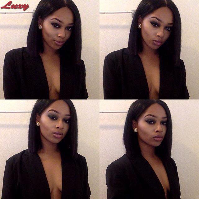 Здесь можно купить  Brazilian Full Lace Wig Glueless Human Hair Lace Front Bob Wig long silk straight Wig With Baby Hair For Black Women  Волосы и аксессуары